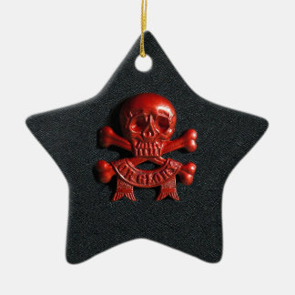 Red scull and cross bones ceramic star decoration