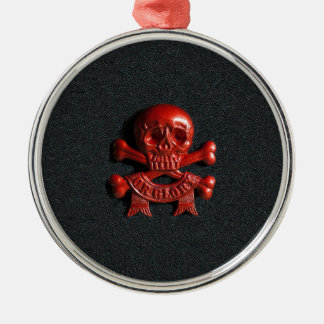 Red scull and cross bones christmas ornament