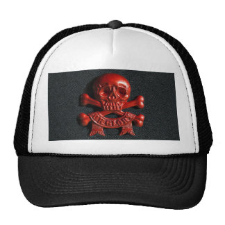 Red scull and cross bones mesh hats