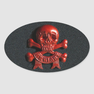 Red scull and cross bones oval sticker