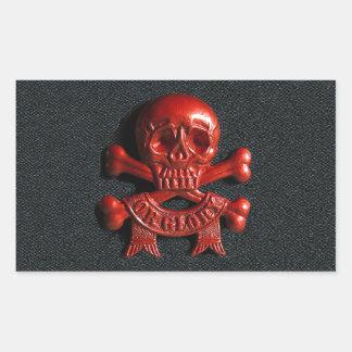 Red scull and cross bones rectangular sticker