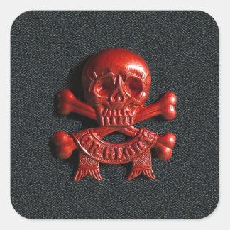 Red scull and cross bones square sticker