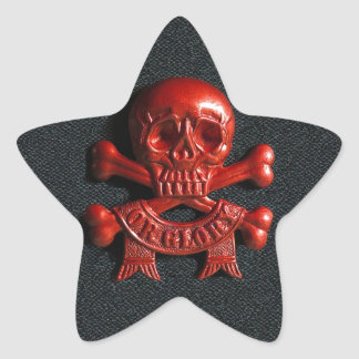 Red scull and cross bones star sticker