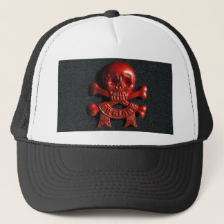 Red scull and cross bones trucker hat