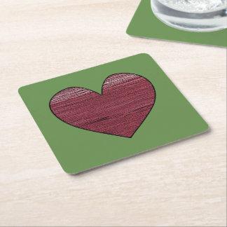 Red Sea Of Big Heart Square Paper Coaster