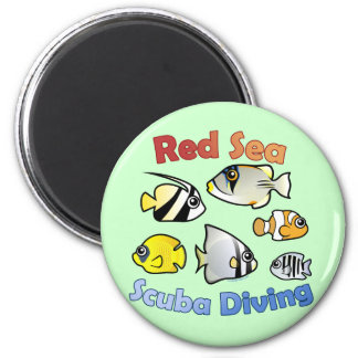 Red Sea Scuba Diving 6 Cm Round Magnet