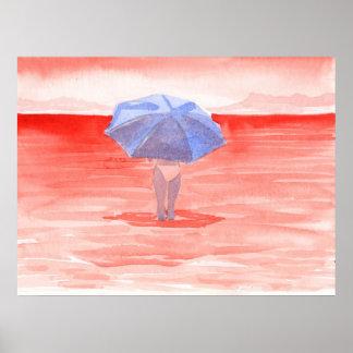 Red Sea Umbrella Poster