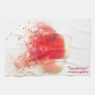 Red seaglass dissolving tea towel