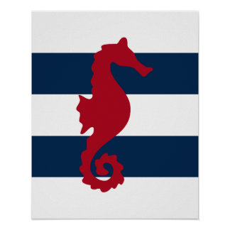 Red Seahorse on navy & white stripes print poster