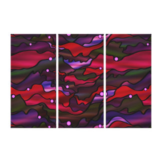 Red Seascape Organic Stained Glass Abstract Canvas Print