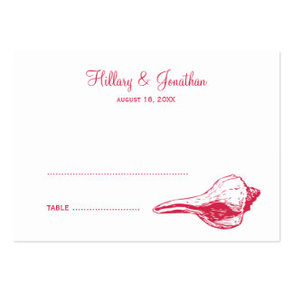 Red seashell beach theme wedding escort place card business card template