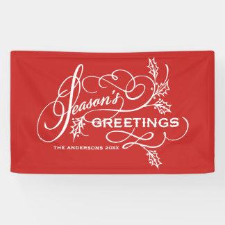 Red Season's Greetings Elegant Flourish Holiday Banner