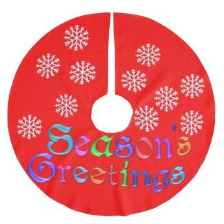 Red Seasons Greetings Tree Skirt Brushed Polyester Tree Skirt