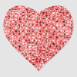 Red Sequin Effect Heart Sticker Sheets