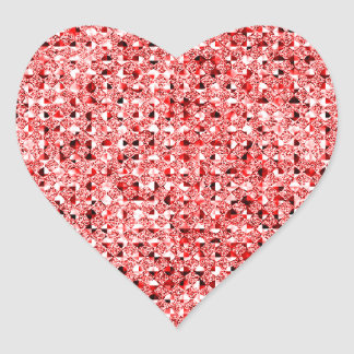 Red Sequin Effect Heart Sticker Sheets