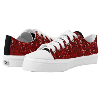Red Sequins Ruby Slippers Black Sneaker Sparkle Printed Shoes