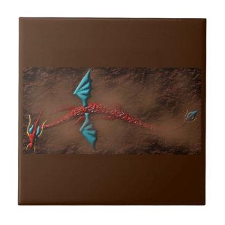Red Serpent Dragon in Desert Tile