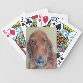 Red setter dog bicycle playing cards
