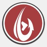 Red ShamHook Round Sticker