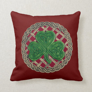Red Shamrock And Celtic Knots Reversible Pillow