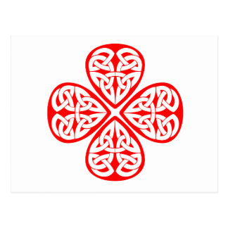 red shamrock celtic knot postcard