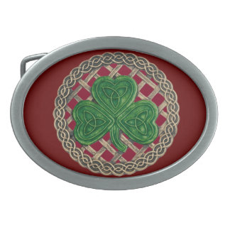 Red Shamrock On Celtic Knots Belt Buckle