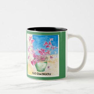 Red Shamrocks Two-Tone Coffee Mug