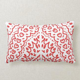 red shapes heart pattern lumbar cushion
