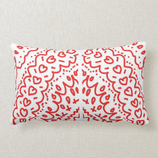 red shapes heart pattern lumbar pillow