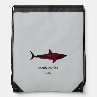 red shark custom design drawstring bag
