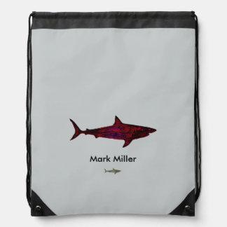 red shark custom design drawstring bags