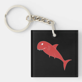 Red Shark on Black. Key Ring
