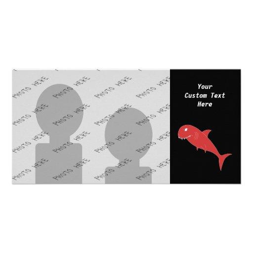 Red Shark on Black. Customized Photo Card