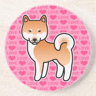 Red Shiba Inu Cartoon Dog On Pink Coaster