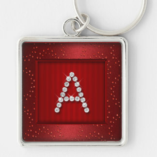 Red Shimmer and Sparkle with Monogram Key Ring