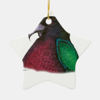 red shining parrot, tony fernandes christmas ornament