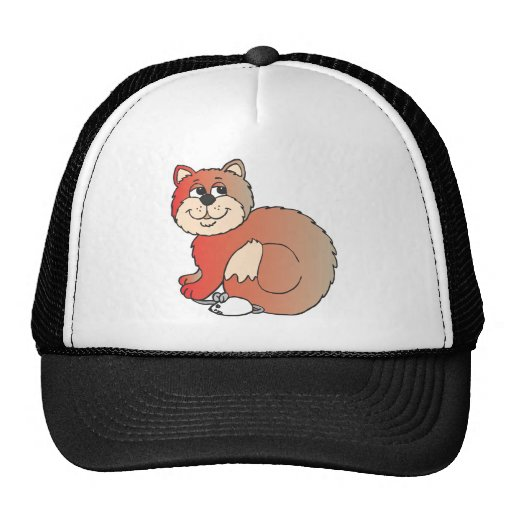 red shiny proud Cat sitting on Mouse Hat