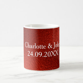 Red Shiny Save The Date Frosted Glass Mug Gift