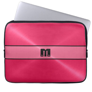 Red Shiny Stainless Steel Metal 2 Laptop Sleeve