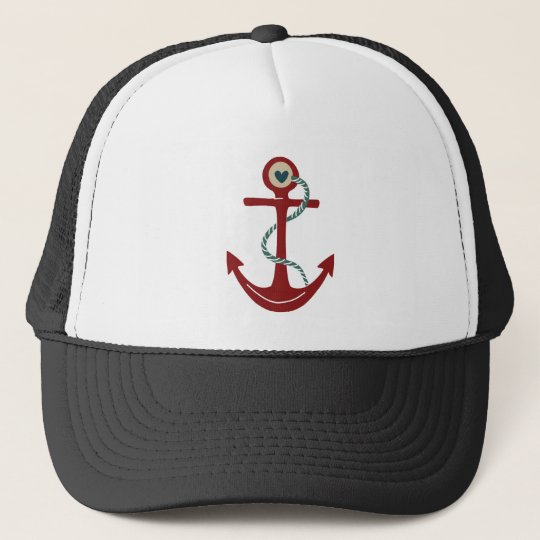 Red Ship Anchor with Heart Cap