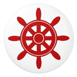 Red Ship Wheel  Nautical Themed Cabinet Knob