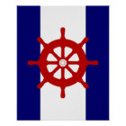 Red Ships Wheel navy & white stripes print poster
