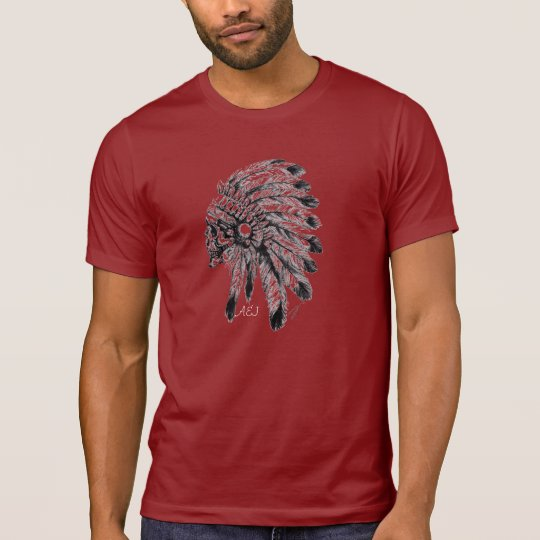 Red shirt A&J indian skull