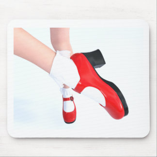Red Shoes White Frilly Socks Mouse Pad