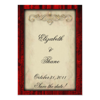 Red Silk and Parchment Gothic Wedding Invitation