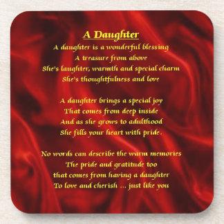 Red Silk design - Daughter Poem Coaster