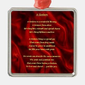 Red Silk - godson poem Christmas Ornament