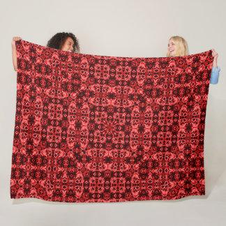 Red Silk Skulls Foulard Pattern Fleece Blanket