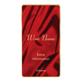 Red Silk Wine Label Shipping Label