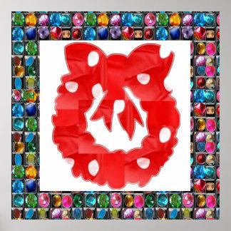 Red Silk Wreath on Golden Jewel Pattern Print